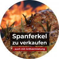 Rund | Spanferkel zu verkaufen Poster | Plakat für Werbeaufsteller | Rundformat