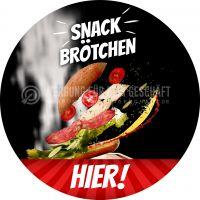 Rund | Snack Brötchen Poster | Werbetafel für Bäckerei | Rundformat