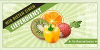 2:1 | Obst und Gemüse Lieferdienst Plakat | Werbeplakat für Gemüsehändler | 2 zu 1 Format