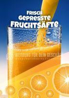 Frisch gepresste Fruchtsäfte Plakat | Werbetafel Fruchtsäfte