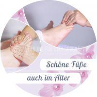 Rund | Schöne Füße auch im Alter Plakat | Werbeplakat für Fußpflege | Rundformat
