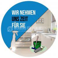 Rund | Wir nehmen uns Zeit Poster | Werbeschild für Reinigung | Rundformat