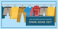 2:1 | Lass uns deine Kleidung waschen Poster | Werbeplakat für Reinigung | 2 zu 1 Format