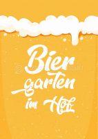 Biergarten im Hof Poster | Plakat für Werbeaufsteller