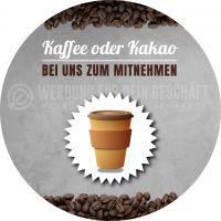 Rund | Kaffee oder Kakao Plakat | Werbebanner Kaffee | Rundformat