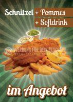 Schnitzel im Angebot Plakat | Werbeschild für deinen Imbiss
