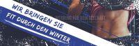 3:1 | Fit durch den Winter Plakat | Werbebanner für Fitnessstudios | 3 zu 1 Format