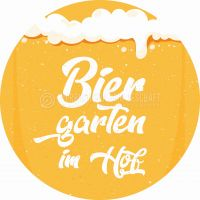 Rund | Biergarten im Hof Poster | Plakat für Werbeaufsteller | Rundformat