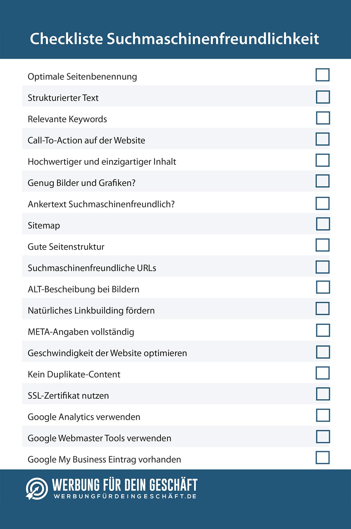 Checkliste zum abhaken von Faktoren für die Suchmaschinenfreundlichkeit