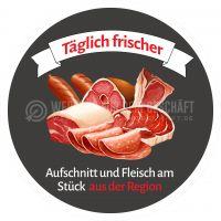 Rund | Aufschnitt und Fleisch aus der Region Poster | Werbeposter für Metzger | Rundformat