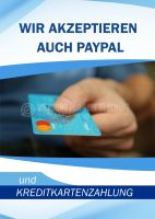 Paypal und Kreditkartenzahlung Poster | Werbeposter für Geschäfte