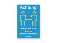 Achtung! 2 Meter Abstand Aufkleber | PVC-Plakat