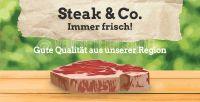 2:1 | Steak und Co. Immer frisch Poster | Werbetafel für Fleischerei | 2 zu 1 Format