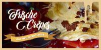 2:1 | Frische Crepes Plakat | Werbeschild für Eiscafes | 2 zu 1 Format