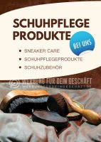 Schuhpflege Produkte Werbetafel | Plakat auch in DIN A 2