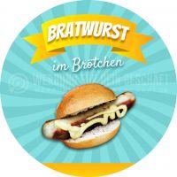 Rund | Bratwurst Plakat | Werbetafel Bratwurst im Brötchen | Rundformat
