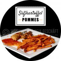Rund | Süßkartoffel Pommes Poster | Plakat auch in DIN A 3 | Rundformat
