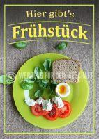 Hier gibts Frühstück Plakat | Werbeschild für Bäckerei