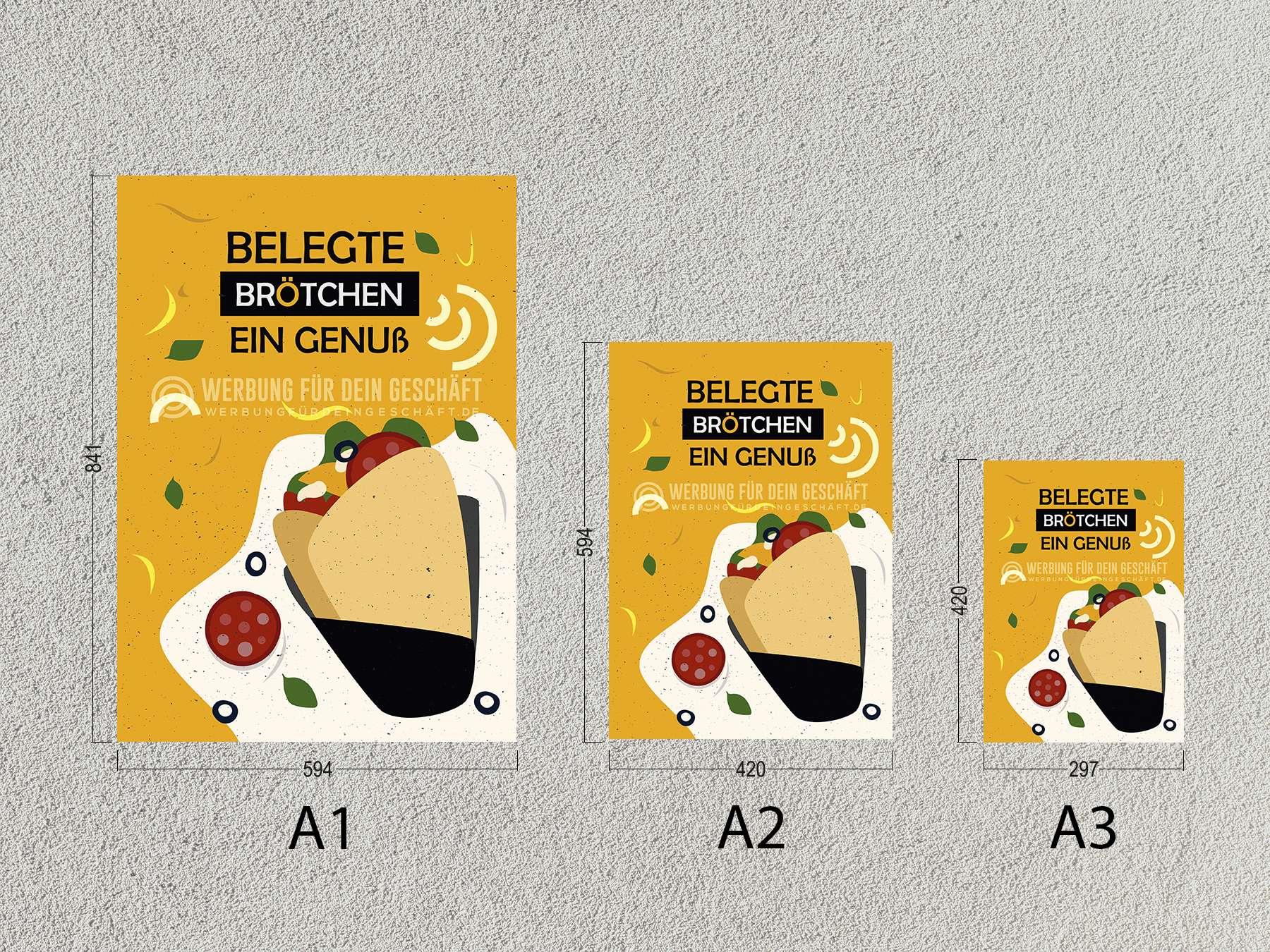 2 x belegte Brötchen Frühstück Poster Plakate DIN A1 Werbung Kundenstopper