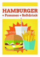 Hamburger Menü Plakat | Hamburger+ Pommes + Softdrink