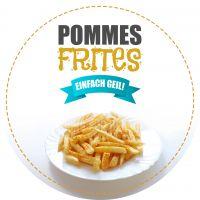 Rund   Pommes Frites Poster   Werbeplakat Imbiss   Rundformat