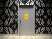 Toiletten Aufkleber | Männlich WC Zeichen | Emblem gelb