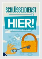 Schlüsseldienst hier Plakat | Werbe-Plakat für Schlüsseldienst