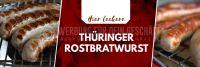 3:1 | Leckere Thüringer Rostbratwurst Werbeaufkleber | Plakat auch in DIN A0 | 3 zu 1 Format