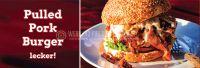3:1 | Pulled Pork Burger Werbeplakat | Poster für Werbeaufsteller | 3 zu 1 Format