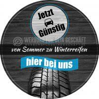 Rund | Von Sommer zu Winterreifen Plakat | Werbeplakat für Autohaus | Rundformat