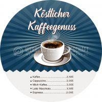Rund | Köstlicher Kaffeegenuss Poster | Werbebanner für dein Cafe | Rundformat