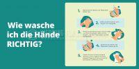 2:1 | Hände richtig waschen Hinweisschild | Plakat auch in DIN A1 | 2 zu 1 Format