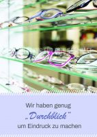 Wir machen Eindruck Plakat | Werbetafel für Optiker