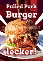Pulled Pork Burger Werbeplakat | Poster für Werbeaufsteller