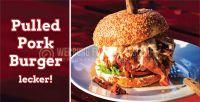 2:1 | Pulled Pork Burger Werbeplakat | Poster für Werbeaufsteller | 2 zu 1 Format