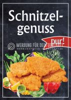 Schnitzelgenuss pur Plakatwerbung | Werbebanner für Imbiss