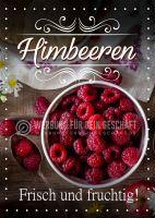 Himbeeren Frisch und fruchtig Poster | Werbeschild für Himbeeren
