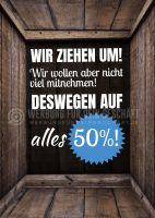 Wir ziehen um 50 % Poster | Werbeposter für Geschäfte