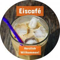 Rund | Eiscafé Plakat | Herzlich Willkommen | Rundformat