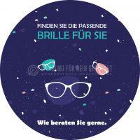 Rund | Finden Sie die passende Brille Plakat | Werbetafel für Optiker | Rundformat