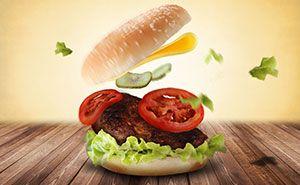 Versuche es aus mit der Burger Werbung zum Mittag