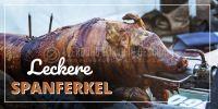 2:1 | Leckere Spanferkel Werbeschild | Plakat online drucken | 2 zu 1 Format