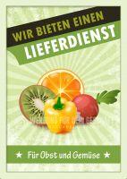 Obst und Gemüse Lieferdienst Plakat | Werbeplakat für Gemüsehändler