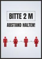 Bitte 2 m Abstand halten Poster   für Werbeaufsteller