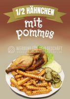 Hähnchen mit Pommes Plakat | Werbeplakat für deinen Imbiss