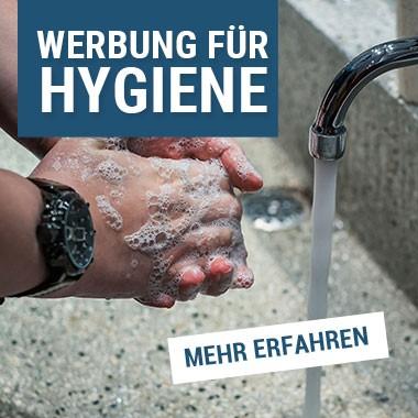 Werbung und Hinweise zur Hyieneeinhaltung
