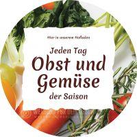 Rund | Jeden Tag Obst und Gemüse Poster | Werbeposte für Hofladen | Rundformat