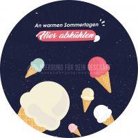 Rund   Hier abkühlen Poster   Werbeschild für Eisdiele   Rundformat