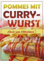 Pommes mit Currywurst Plakat | Werbebanner für Imbisse