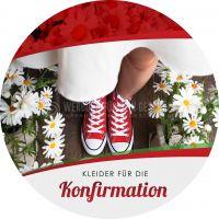 Rund | Kleider für die Konfirmation Plakat | für Werbeaufsteller | Rundformat